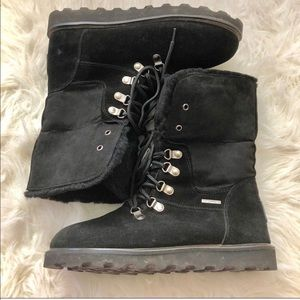 Bearpaw Winter Boots foldover Black 9 laces warm